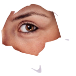 Vrouw maakt veel oogcontact door gat in muur
