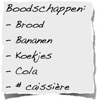 Boodschappenlijstje supermarkt caissiere versieren