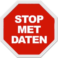 Verkeersbord met de melding: stop met daten