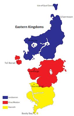 Landkaart van World of Warcraft (Oostelijke rijkdom)