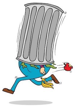 Rennende man in een vuilnisbak