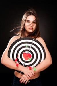 Dartboard met vrouw